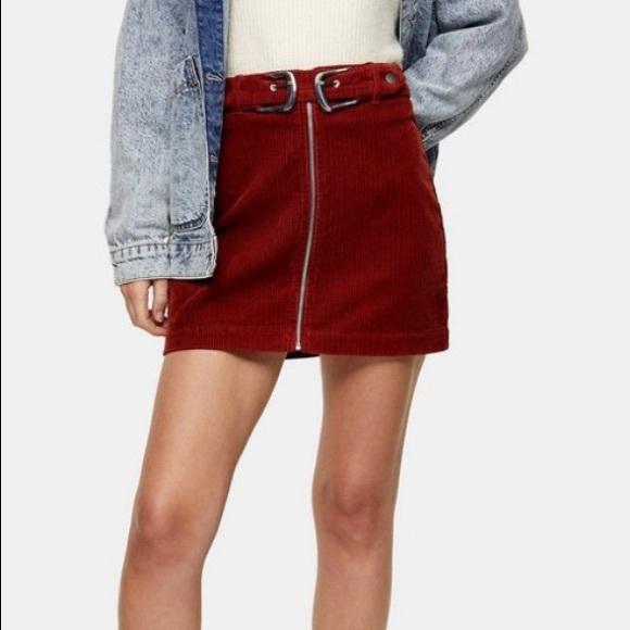 Topshop Dresses & Skirts - NWT TOPSHOP Rust Corduroy Double Buckle Mini Skirt